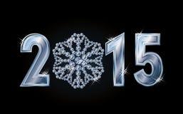 Tarjeta feliz del Año Nuevo 2015 con el copo de nieve brillante Fotos de archivo
