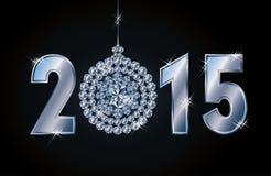 Tarjeta feliz del Año Nuevo 2015 con la bola de Navidad del diamante Imagen de archivo