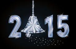 Tarjeta feliz del Año Nuevo 2015 con la campana de Navidad del diamante Fotos de archivo libres de regalías