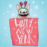 Tarjeta feliz del Año Nuevo 2018 El barro amasado divertido felicita el día de fiesta Símbolo chino del zodiaco del perro del año libre illustration