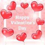 Tarjeta feliz del día de la tarjeta del día de San Valentín s, plantilla, invitación con los globos rojos realistas 3d en la form Fotografía de archivo libre de regalías
