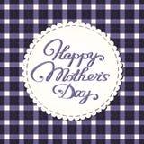 Tarjeta feliz del día de madre, letras bordadas. Ilustración del Vector