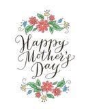 Tarjeta feliz del día de madres con el texto y las flores dibujados mano Imágenes de archivo libres de regalías