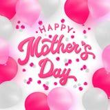 Tarjeta feliz del día de madres con las letras 3d y el globo Fotos de archivo