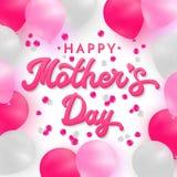 Tarjeta feliz del día de madres con las letras de la mano del rosa 3d Imágenes de archivo libres de regalías