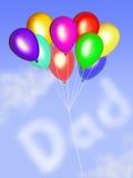 Tarjeta feliz del día de padre con los globos Foto de archivo libre de regalías