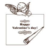 Tarjeta feliz del día de tarjeta del día de San Valentín con el cupid Fotografía de archivo libre de regalías