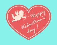 Tarjeta feliz del día de tarjeta del día de San Valentín con la silueta del cupidon Foto de archivo libre de regalías