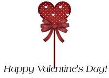 Tarjeta feliz del día de tarjeta del día de San Valentín del Lollipop rojo Imagen de archivo