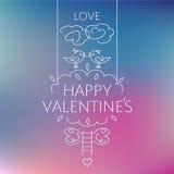 Tarjeta feliz del día de tarjeta del día de San Valentín Pájaros en la corona de Imagen de archivo