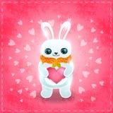 Tarjeta feliz del día de tarjetas del día de San Valentín con el conejo y el corazón ilustración del vector