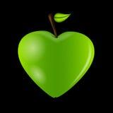 Tarjeta feliz del día de tarjetas del día de San Valentín con el corazón de la manzana. Vector stock de ilustración
