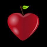 Tarjeta feliz del día de tarjetas del día de San Valentín con el corazón de la manzana. Vector ilustración del vector