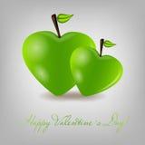 Tarjeta feliz del día de tarjetas del día de San Valentín con el corazón de la manzana. Vector libre illustration
