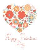 Tarjeta feliz del día de tarjetas del día de San Valentín con el corazón floral Foto de archivo libre de regalías