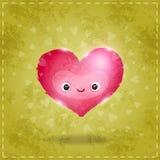 Tarjeta feliz del día de tarjetas del día de San Valentín con el corazón lindo Foto de archivo libre de regalías