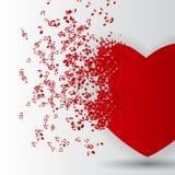 Tarjeta feliz del día de tarjetas del día de San Valentín con el corazón, notas de la música. Foto de archivo