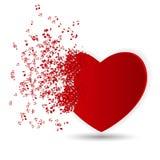 Tarjeta feliz del día de tarjetas del día de San Valentín con el corazón, notas de la música. Fotografía de archivo
