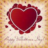 Tarjeta feliz del día de tarjetas del día de San Valentín con el corazón. Vector stock de ilustración