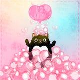Tarjeta feliz del día de tarjetas del día de San Valentín con el gato stock de ilustración