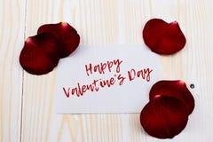Tarjeta feliz del día de tarjetas del día de San Valentín con las rosas Fotos de archivo