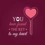 Tarjeta feliz del día de tarjetas del día de San Valentín con llave Imágenes de archivo libres de regalías