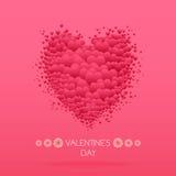 Tarjeta feliz del día de tarjetas del día de San Valentín con los corazones Vector de Valentine Love Fotos de archivo libres de regalías