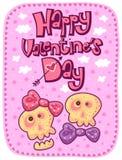 Tarjeta feliz del día de tarjetas del día de San Valentín con los cráneos divertidos libre illustration