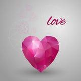 Tarjeta feliz del día de tarjetas del día de San Valentín Corazón poligonal Vector Fotos de archivo libres de regalías