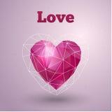 Tarjeta feliz del día de tarjetas del día de San Valentín Corazón poligonal Vector Fotografía de archivo libre de regalías