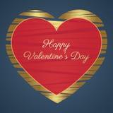 Tarjeta feliz del día de tarjetas del día de San Valentín (14 de febrero) Corazones, oro y rojo en un fondo azul Imagen de archivo