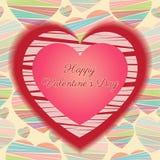 Tarjeta feliz del día de tarjetas del día de San Valentín (14 de febrero) Corazones rojos y rosados en un fondo colorido Imagenes de archivo