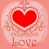 Tarjeta feliz del día de tarjetas del día de San Valentín del AMOR Foto de archivo libre de regalías