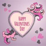 Tarjeta feliz del día de tarjetas del día de San Valentín Vector Imagenes de archivo