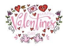 Tarjeta feliz del día de tarjetas del día de San Valentín ilustración del vector