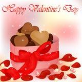 Tarjeta feliz del día del ` s de la tarjeta del día de San Valentín con la caja de galletas, de perlas y de pétalos color de rosa ilustración del vector
