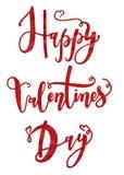 Tarjeta feliz del día del ` s de la tarjeta del día de San Valentín con las letras manuscritas Imágenes de archivo libres de regalías
