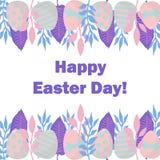 Tarjeta feliz del d?a de Pascua Ejemplo agradable del vector con el marco de las hojas y de los huevos ilustración del vector