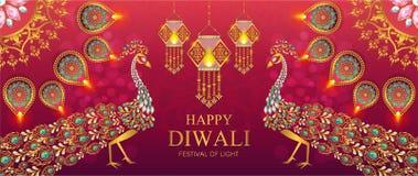 Tarjeta feliz del festival de Diwali ilustración del vector