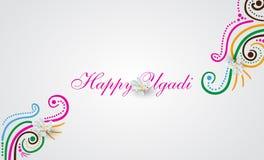 Tarjeta feliz del garabato de Ugadi Imagen de archivo libre de regalías
