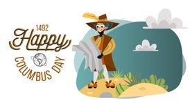 Tarjeta feliz del saludo de Columbus Day o de felicitación de la invitación que pone letras a diseño del logotipo del texto fotos de archivo