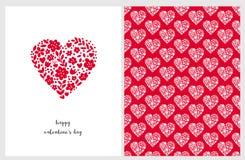 Tarjeta feliz del vector del día del ` s de la tarjeta del día de San Valentín Corazón rojo adorable hecho de flores, de puntos y ilustración del vector