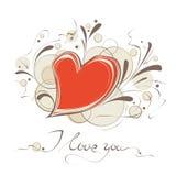 Tarjeta feliz del vector del día de tarjeta del día de San Valentín Fotos de archivo libres de regalías