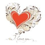 Tarjeta feliz del vector del día de tarjeta del día de San Valentín Imagen de archivo libre de regalías
