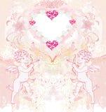 Tarjeta feliz del vintage del día de tarjeta del día de San Valentín con los cupidos Fotos de archivo libres de regalías