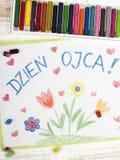 Tarjeta feliz polaca del día de padres Fotos de archivo