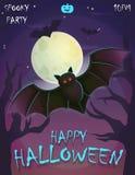 Tarjeta festiva del cartel de Halloween, plantilla de la invitación del partido Fotos de archivo libres de regalías