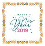 Tarjeta festiva del color del marco de la Feliz Año Nuevo 2019 ilustración del vector