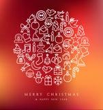 Tarjeta fijada iconos del círculo de la Feliz Navidad Foto de archivo libre de regalías
