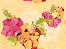 Tarjeta floral con el hibisco Fotografía de archivo libre de regalías